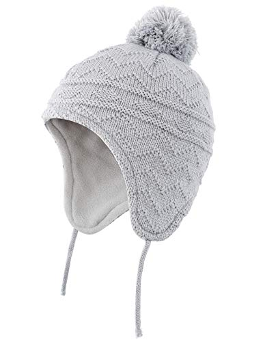 989571b6759c6 Hats & Caps – Connectyle Toddler Infant Baby Knit Kids Hat Fleece Lined  Beanie Skull Cap with Earflap Warm Winter Beanies Cap Grey