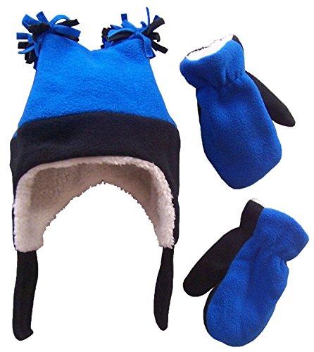 NIce Caps Boys Sherpa Lined Micro Fleece Four Corner Ski Hat and Mitten Set