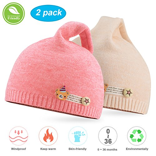 bcf3a006b52b09 Hats & Caps – NIOFEI 2 Pack Baby Winter Beanie Hats for Unisex Baby Boys  Girls Soft Cotton Cute Toddler Infant Kids Knit Beanies Hats Caps (Pink +  Beige)