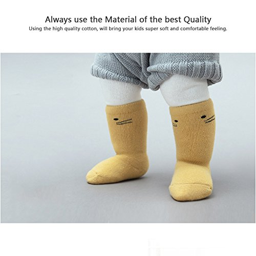 Toptim 6 Pairs Baby Girls Boys Knee High Stockings Unisex Cartoon Animal Socks 1-3T
